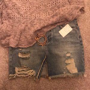 Free People Harvest Bell Denim Skirt